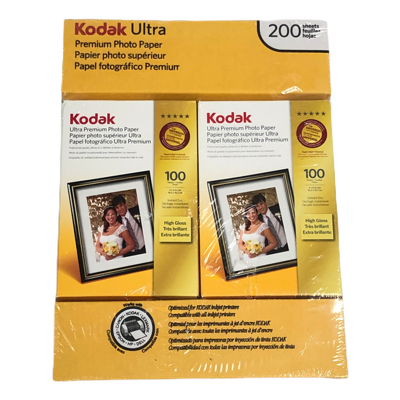 (200) Kodak Ultra Premium Photo Paper High Gloss Sheets