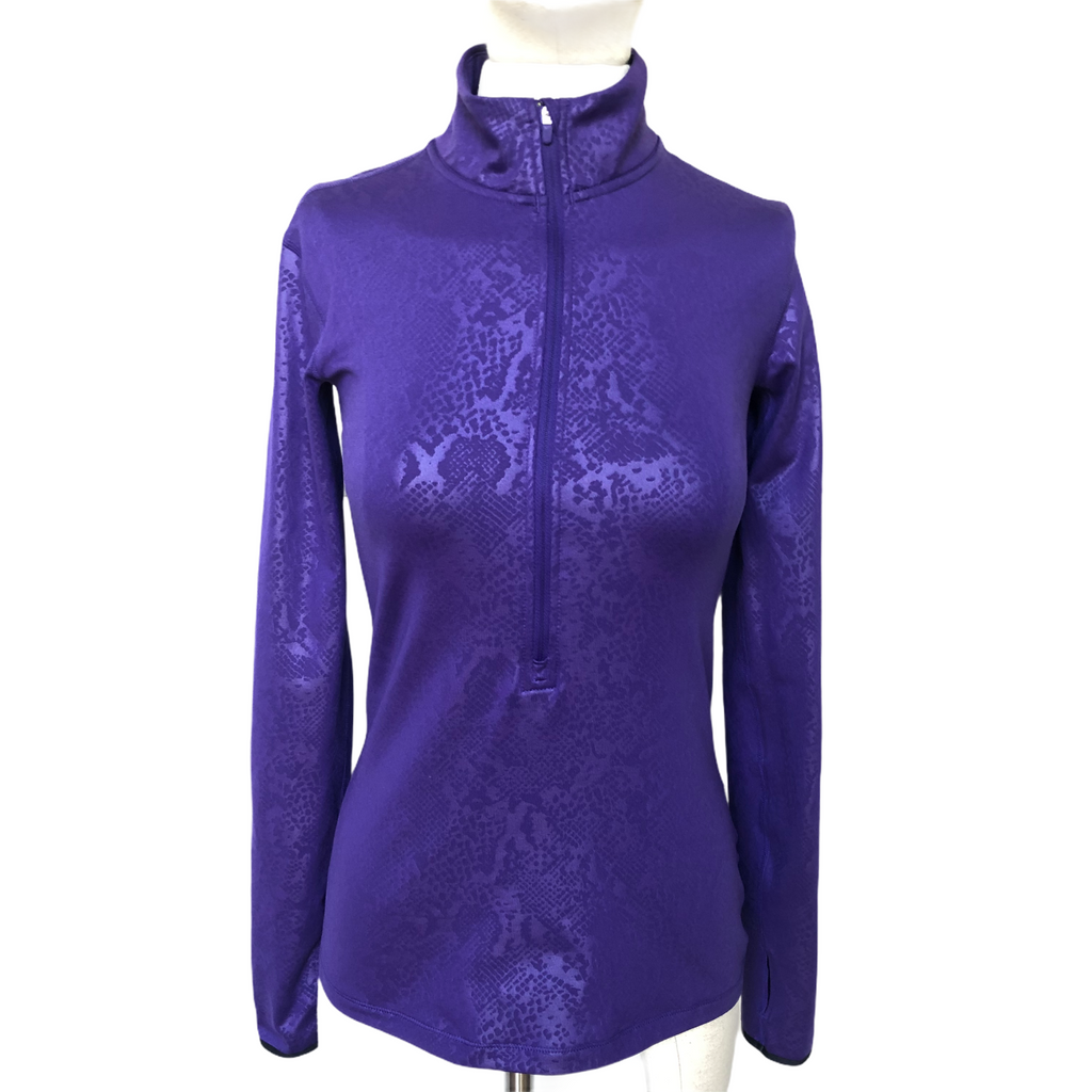 Nike Pro Womens Dri Fit 3/4 Zip Purple Print Long Sleeve Pullover Shirt
