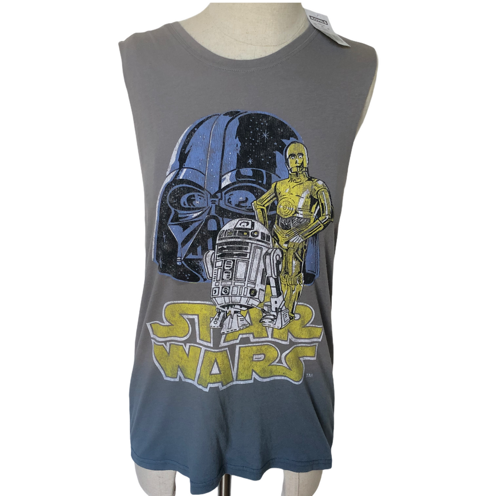 Star Wars TM Womens Gray Mighty Fine Darth Vader C3PO R2D2 Tank Top