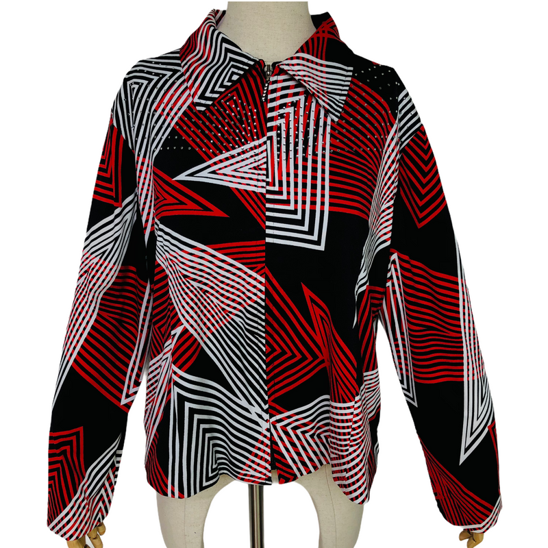 Jackets Galore John Farah Womens Polyester Red Black White Rhinestone Shirt
