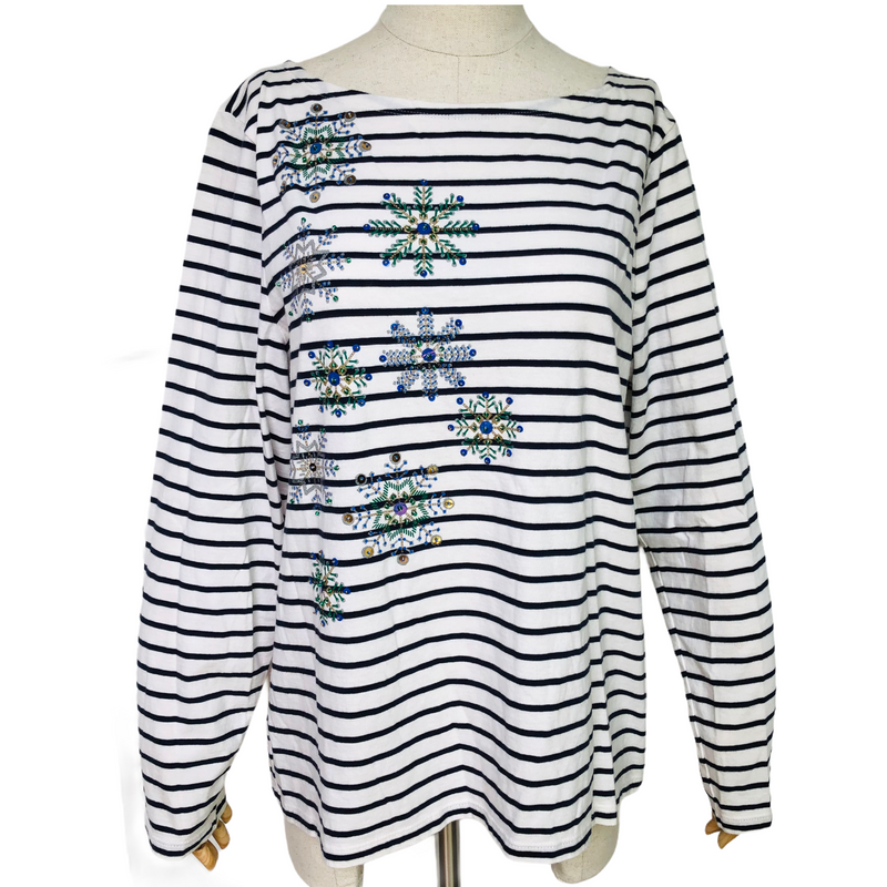 Talbots Womens Embellished Snowflake Striped Long Sleeve Shirt