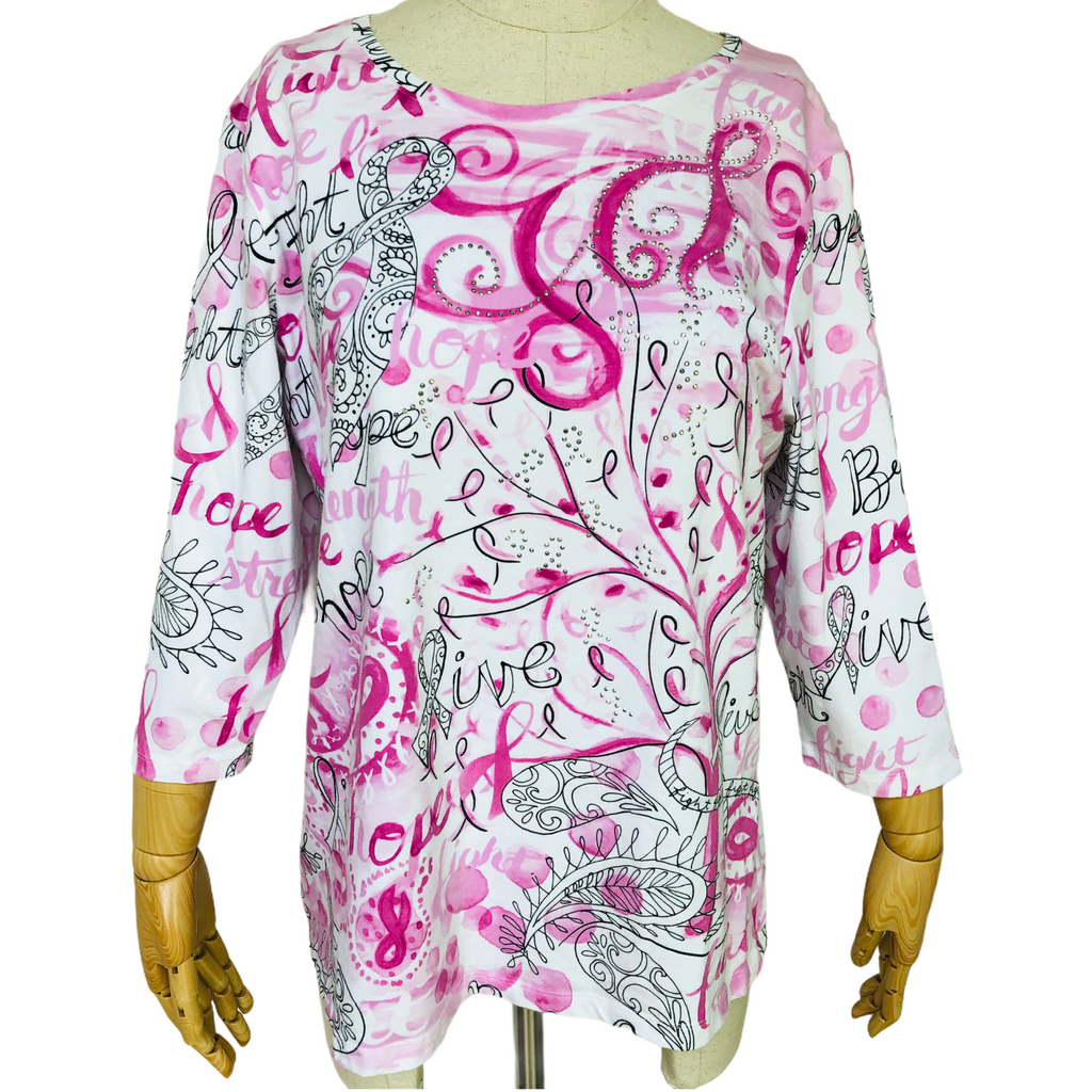Christopher & Banks Womens 3/4 Sleeve Embellished Breast Cancer Shirt