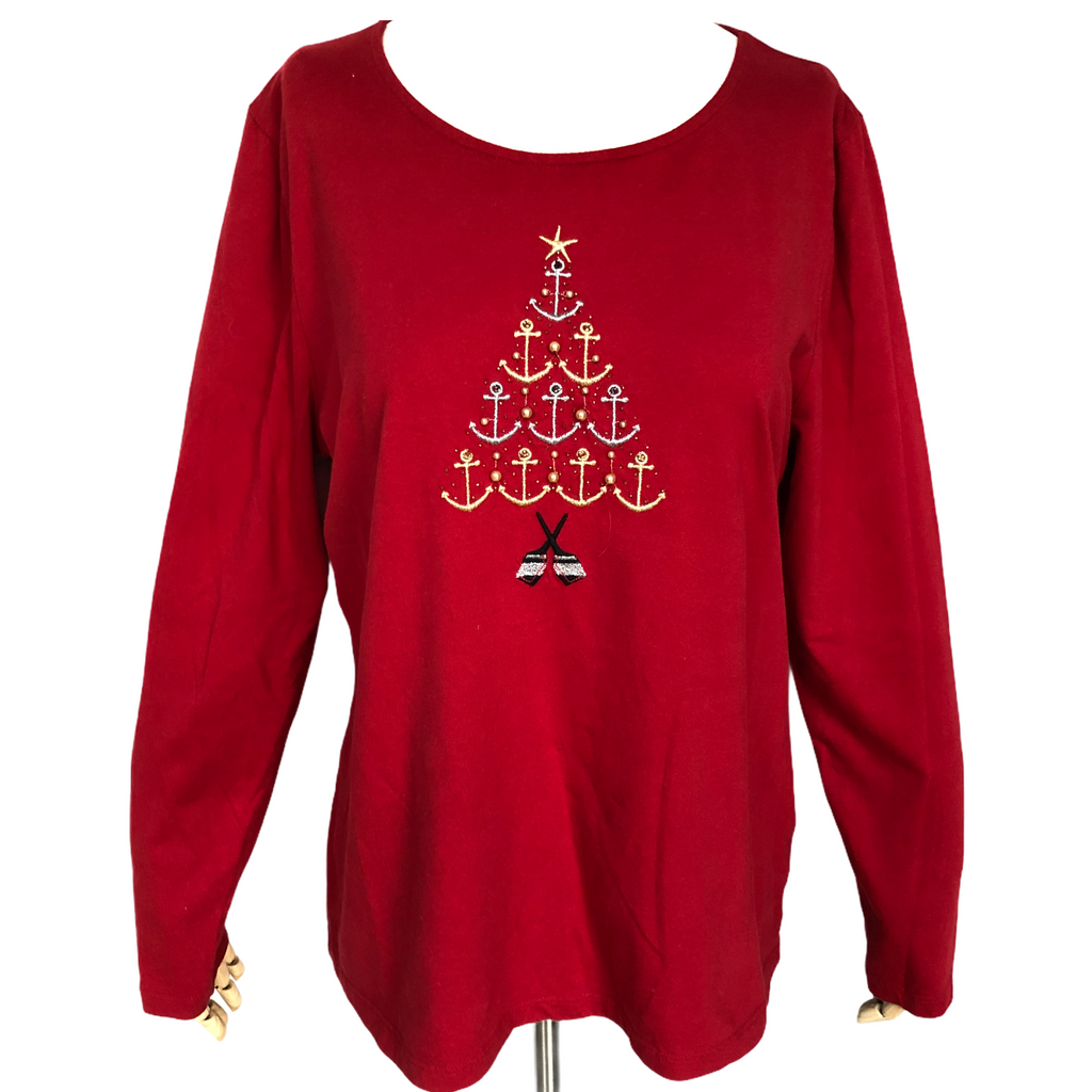 Talbots Womens Long Sleeve Red Christmas Tree Shirt