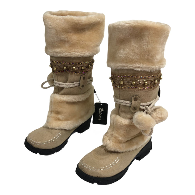 Odema Womens Slip On Fur Jeweled Winter Snow Boots