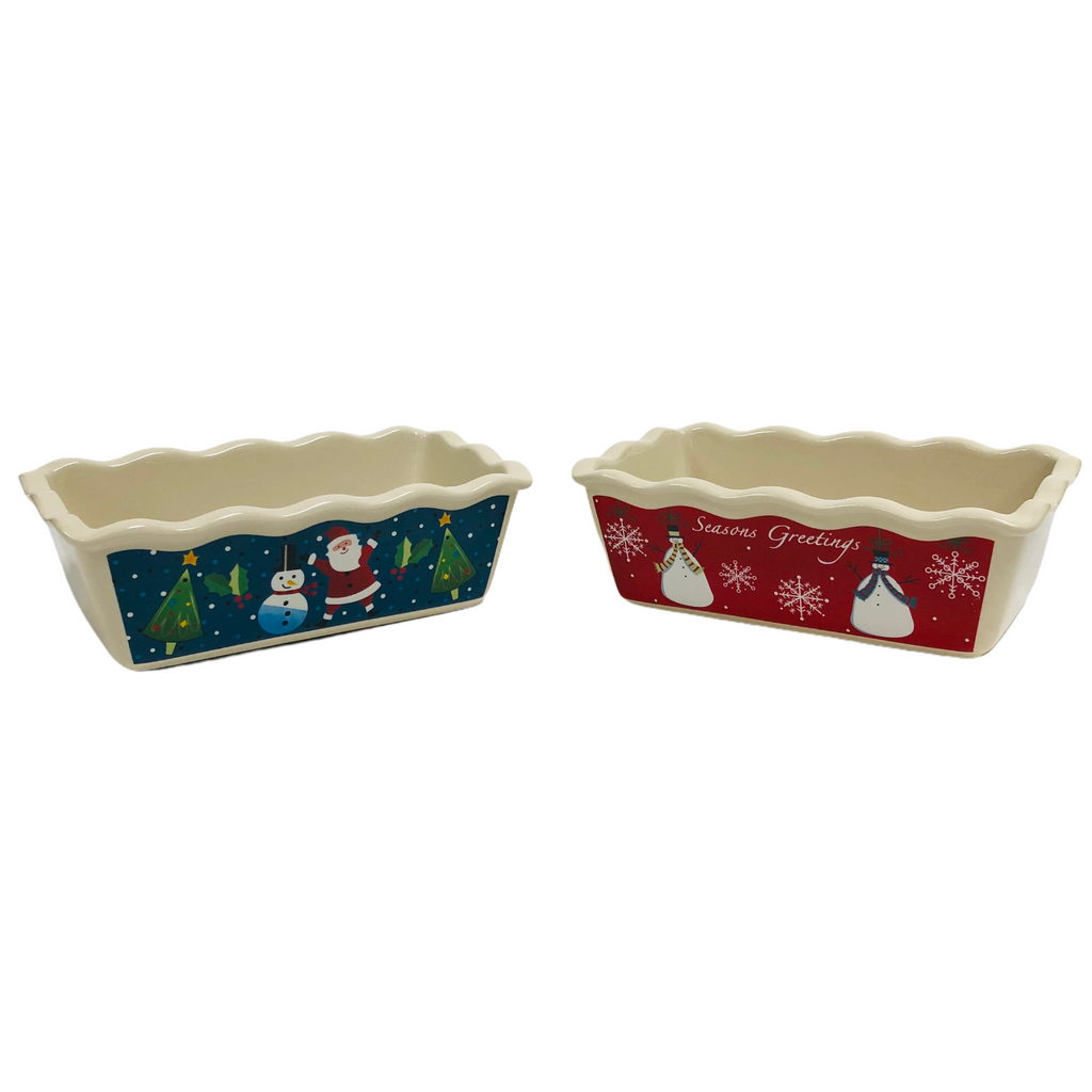 "(2) Christmas Seasons Greetings Santa Claus Snowmen 10"" Baking Bread Dish Set"