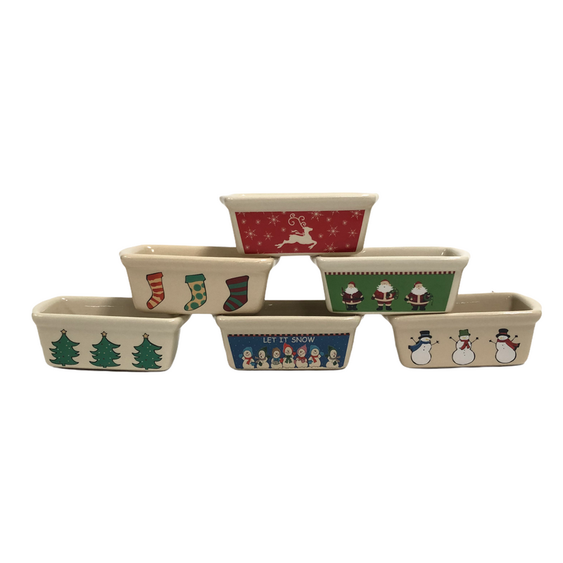 "(6) Christmas Tree Snowmen Santa Claus Stockings 6"" Baking Bread Dish Set"