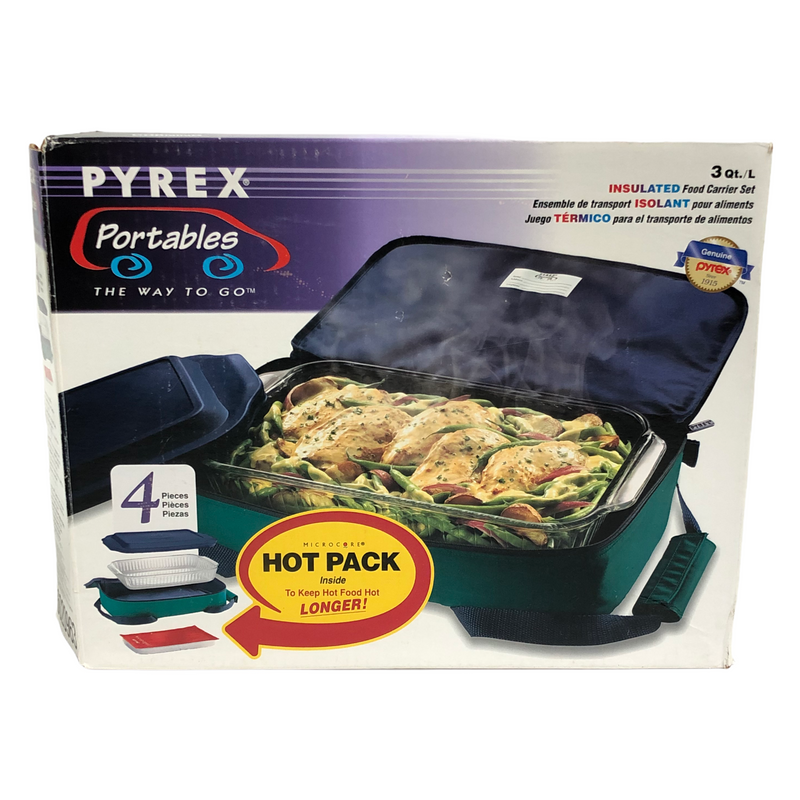 Pyrex Portables 4 Piece Insulated Food 3 Qt Carrier Set