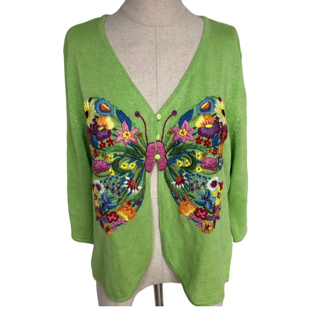 Belle Pointe Womens Vintage V-Neck Green Multi Color Butterfly Sweater