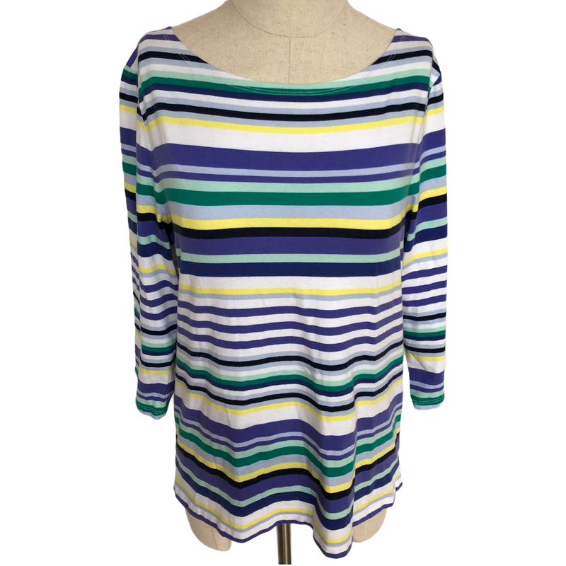 Talbots Womens 3/4 Sleeve Multi Color Striped Shirt