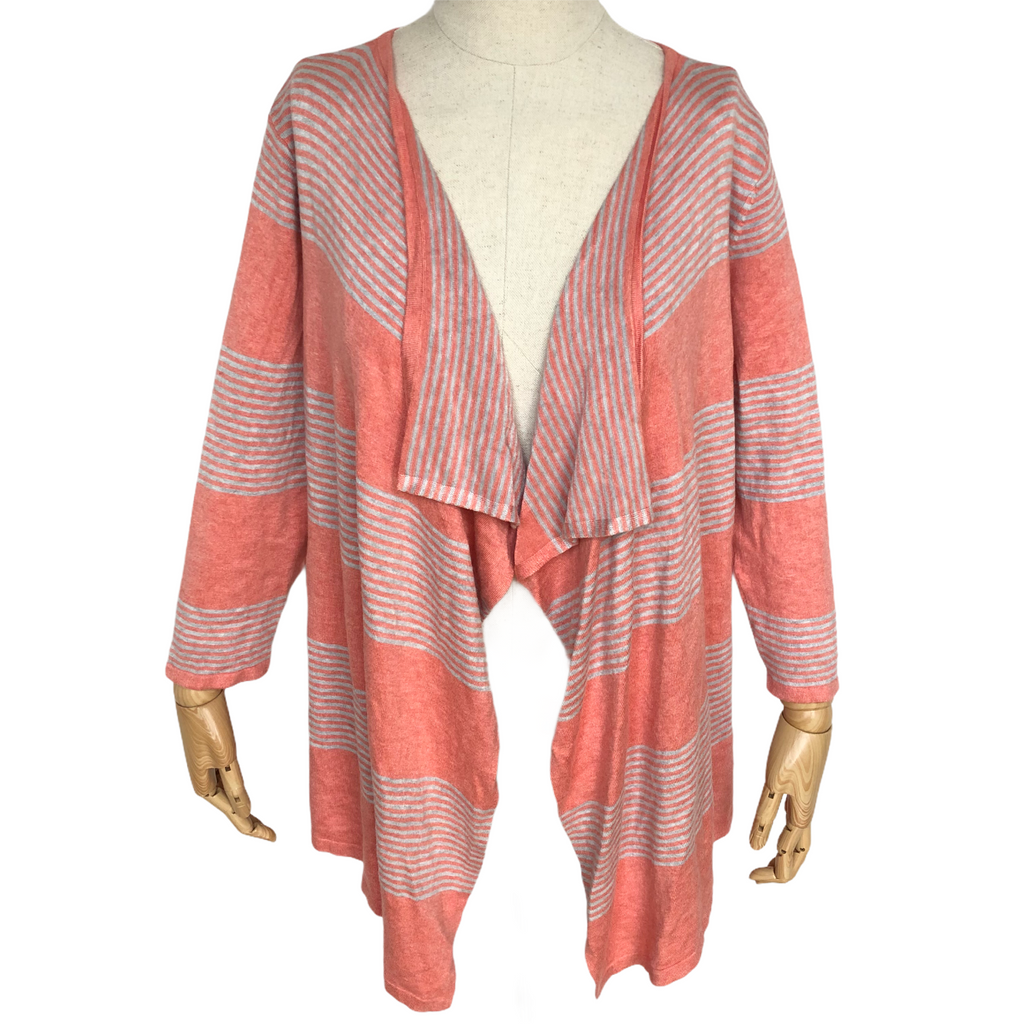 Christopher & Banks Womens 3/4 Sleeve Striped Open Front Cardigan