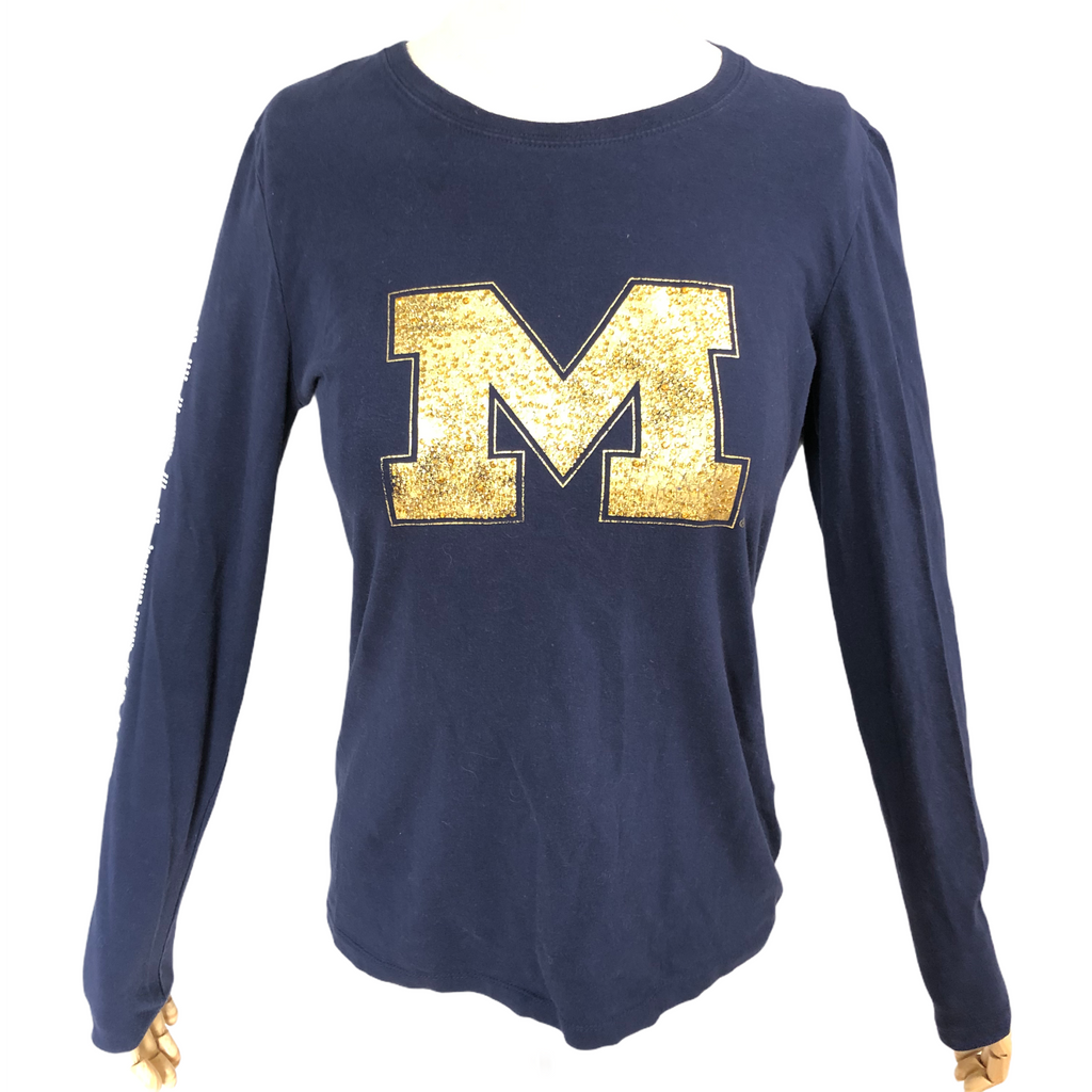 Campus Couture Womens Blue Bling Michigan Wolverines Long Sleeve Shirt
