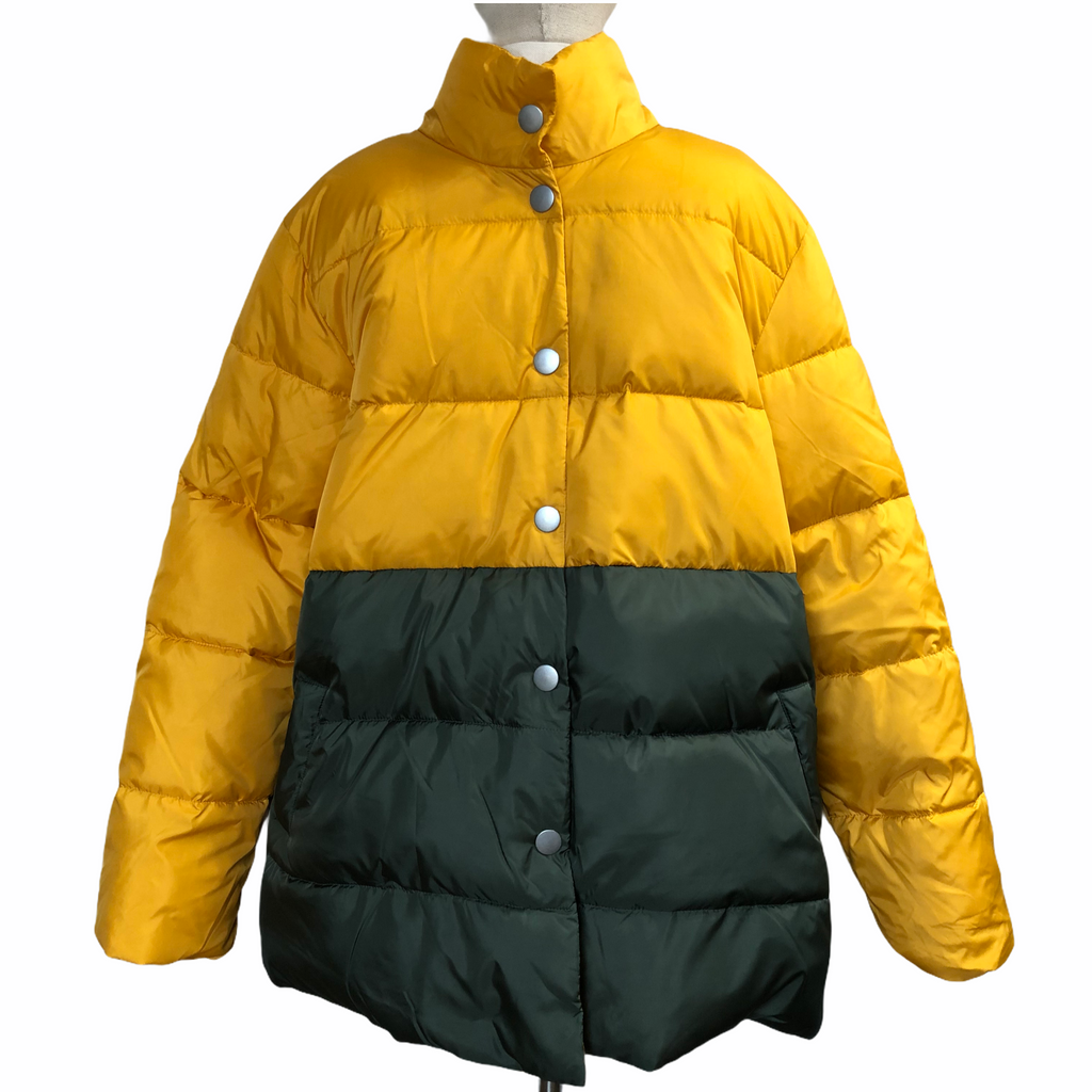 Who What Wear Womens Yellow Deep Green Snap Puffer Jacket