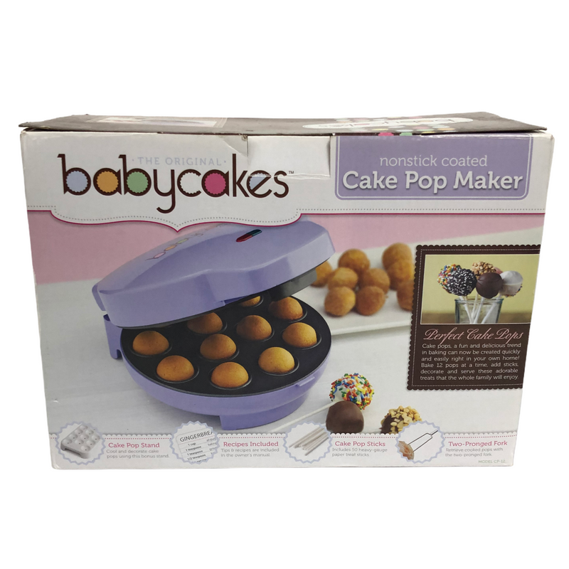 Babycakes Purple Nonstick Coated 12 Mini Donut Cake Pop Maker CP-12