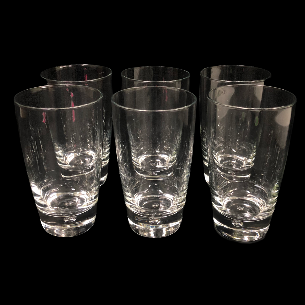 "(6) Bormioli Rocco Luna Bubble Base Cooler 5 3/4"" Tumbler Glasses"