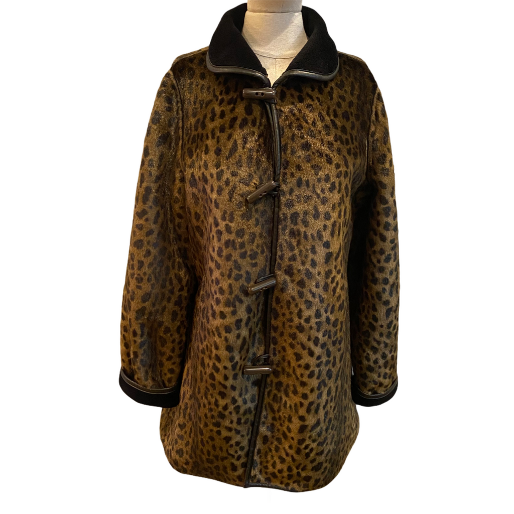 Dennis Basso Womens Animal Print Faux Fur Faux Suede Reversible Coat