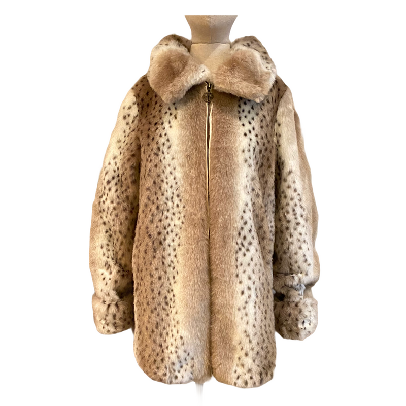 Dennis by Dennis Basso Womens Cream Animal Print Faux Fur Reversible Coat