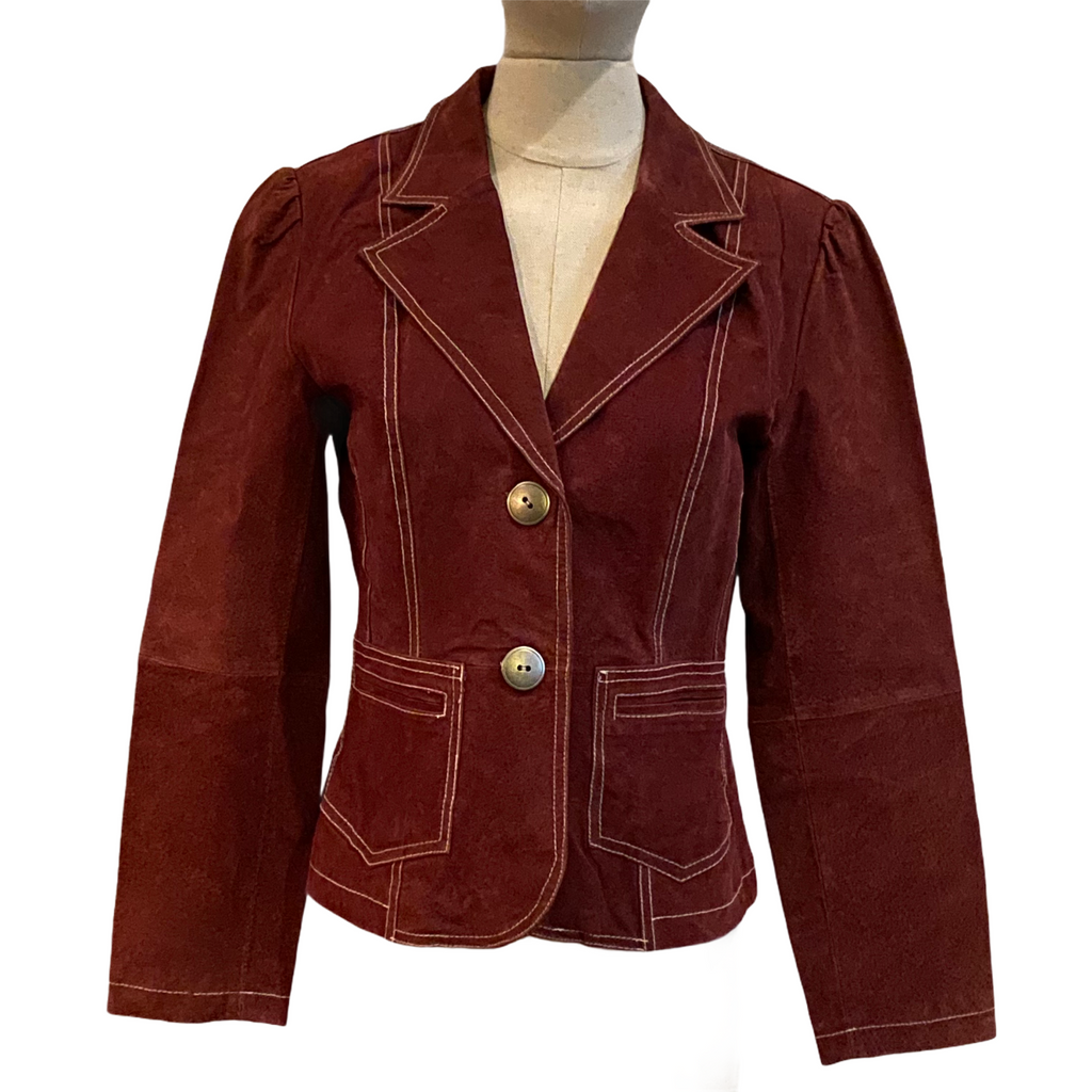 Jennyfer J Womens 2 Button Leather Blazer