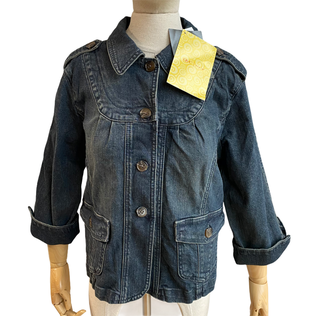 Motto Your Style Mantra Womens Blue Shoulder Straps Denim Jacket