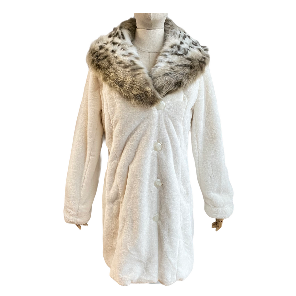 Dennis By Dennis Basso Gold Womens Removable Hood Faux Fur Off White Coat