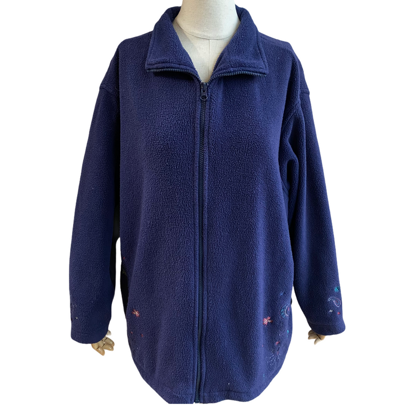 Northern Reflections Womens Vintage Zip Up Blue Flowers Fleece Jacket
