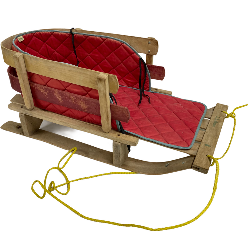 "LL Bean Kids Red Cushion Seat Wood Frame 32"" Pull Toboggan Sled"