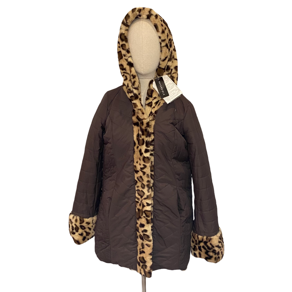 Dennis by Dennis Basso Womens Brown Animal Print Faux Fur Reversible Coat