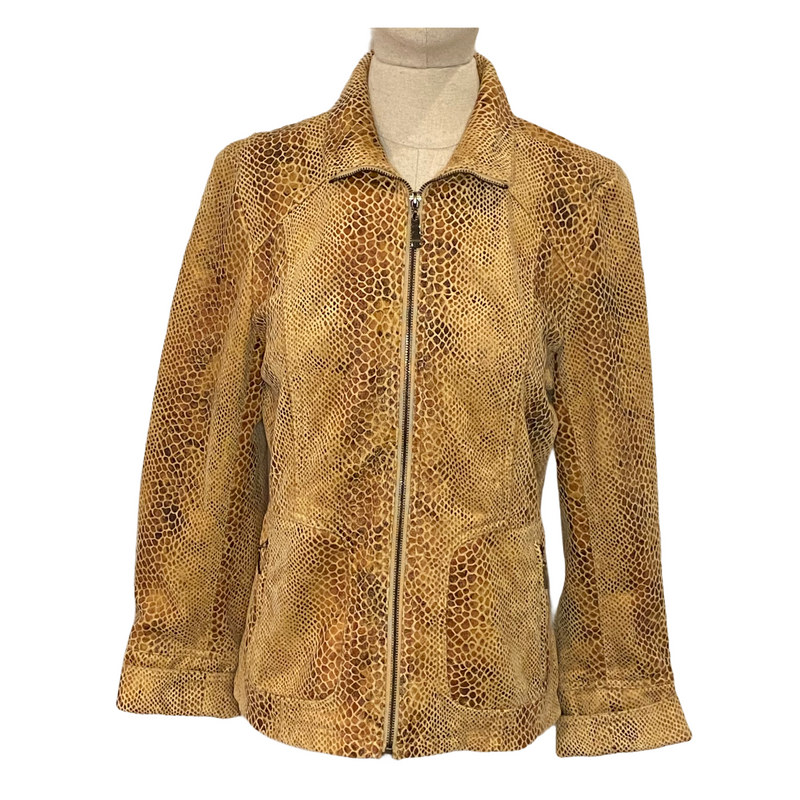 Dialogue Womens Snakeskin Print Zip Up Short Jacket
