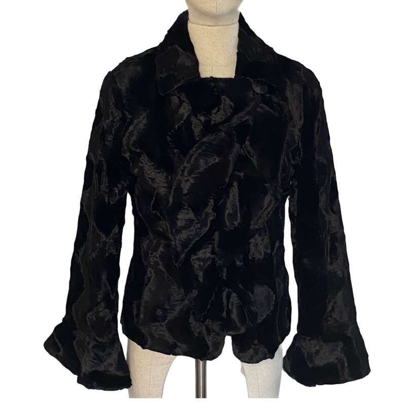 Pamela McCoy Womens Black Faux Fur Ruffle Front Flare Sleeves Coat