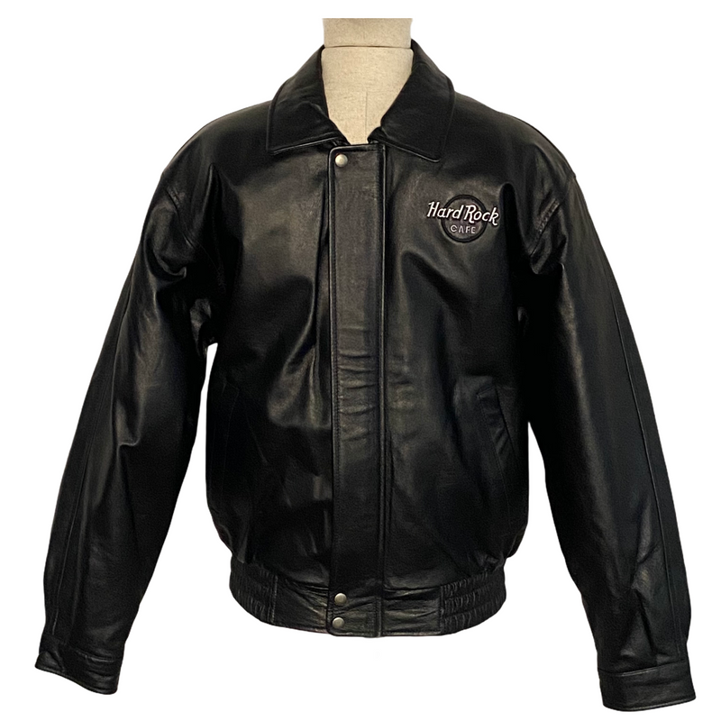 Hard Rock Cafe Mens Pittsburgh Leather Bomber Jacket