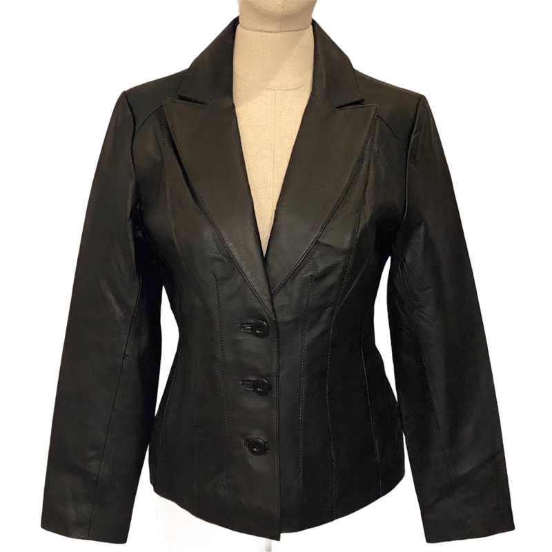 East 5th Womens 3 Button Genuine Leather Blazer