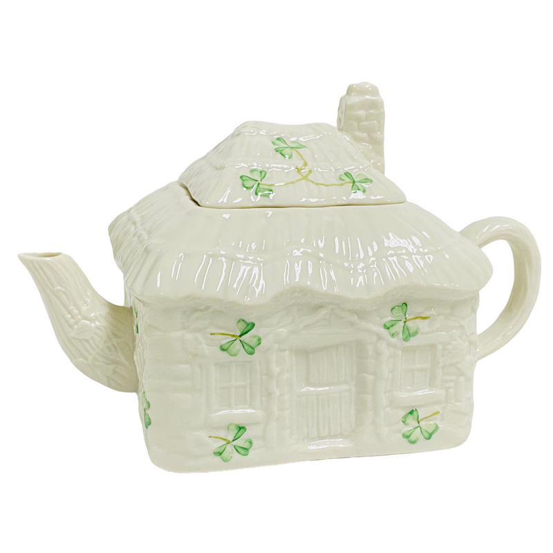 Belleek White Green Shamrock Irish Cottage House Teapot w/ Lid