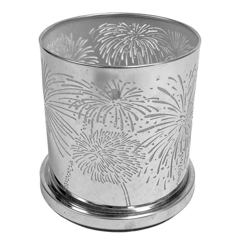 PartyLite Fireworks Celebration Silver Candle Sleeve Cover Votive Hurricane