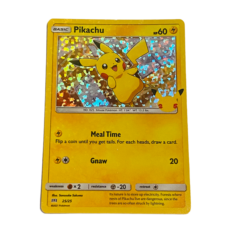 Pikachu Pokemon 25th Anniversary Mcdonalds Holographic Holo 25/25 Card
