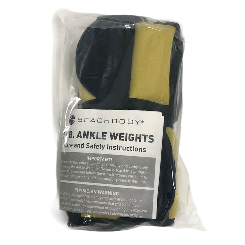 Beachbody Yellow Black 1 lb Ankle Weights Pair Set