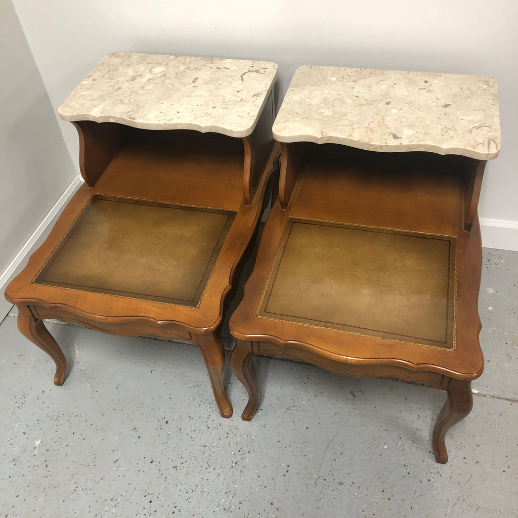 (2) Two-Tier Italian Marble Top Wood End Tables