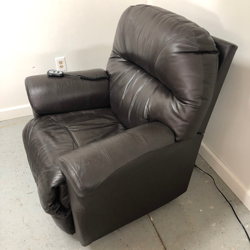 Best Chairs Dark Brown Leather Reclining Electric Recliner Chair