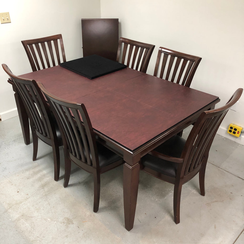 Formal 6 Chair Dining Room Protected Pad Cover Table Set w/ Leaf