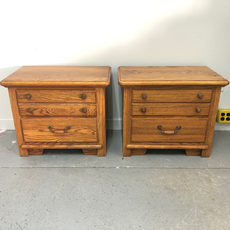 (2) Thomasville Dark Oak 2 Drawer End Tables