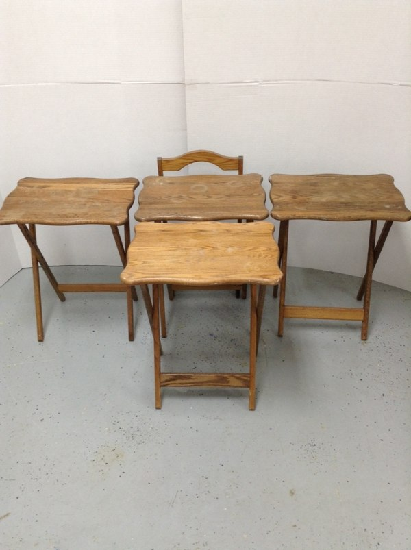 (4) Solid Oak Fold Out Dinner TV Table Trays W/ Stand