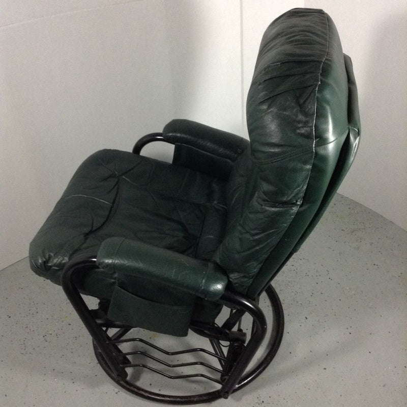 Green Leather Rocker Glider Chair & Ottoman