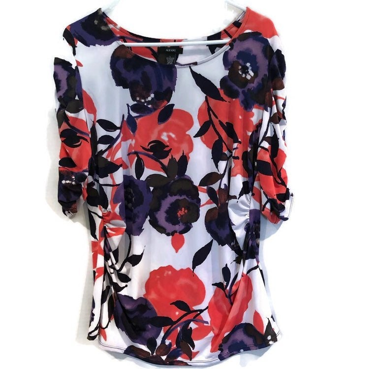 Alfani Womens 3/4 Sleeve 95% Polyester 5% Spandex Floral Blouse