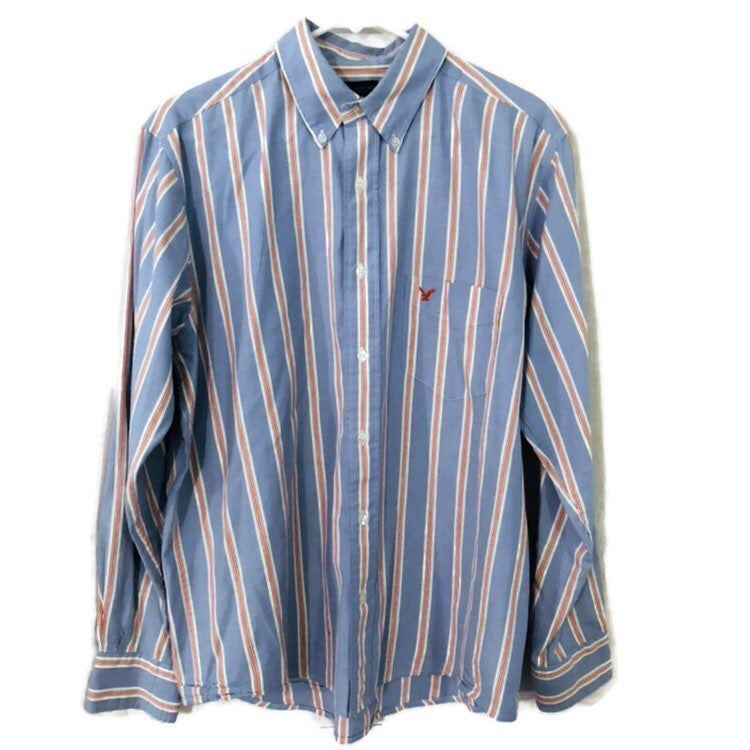 American Eagle Mens Blue Orange Striped  Long Sleeve Button Down Shirt