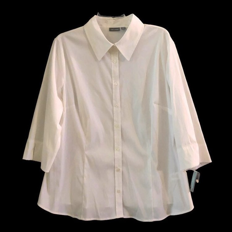 Apt. 9 Essentials Womens Stretch Rolled-Up Sleeve Button Down White Shirt
