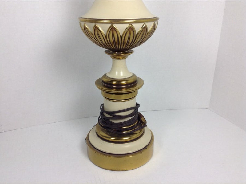 STIFFEL Tall Table Lamp Hollywood Regency Brass & Off White