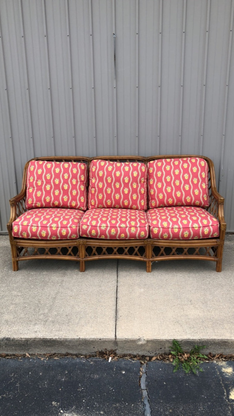 Rattan 3-Seat Sofa Couch w/ Pineapple Cushions