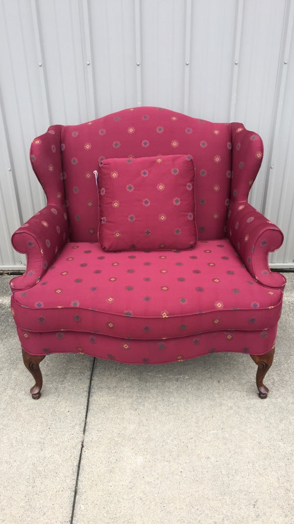 Red Wing Back Love Seat Sofa Chair
