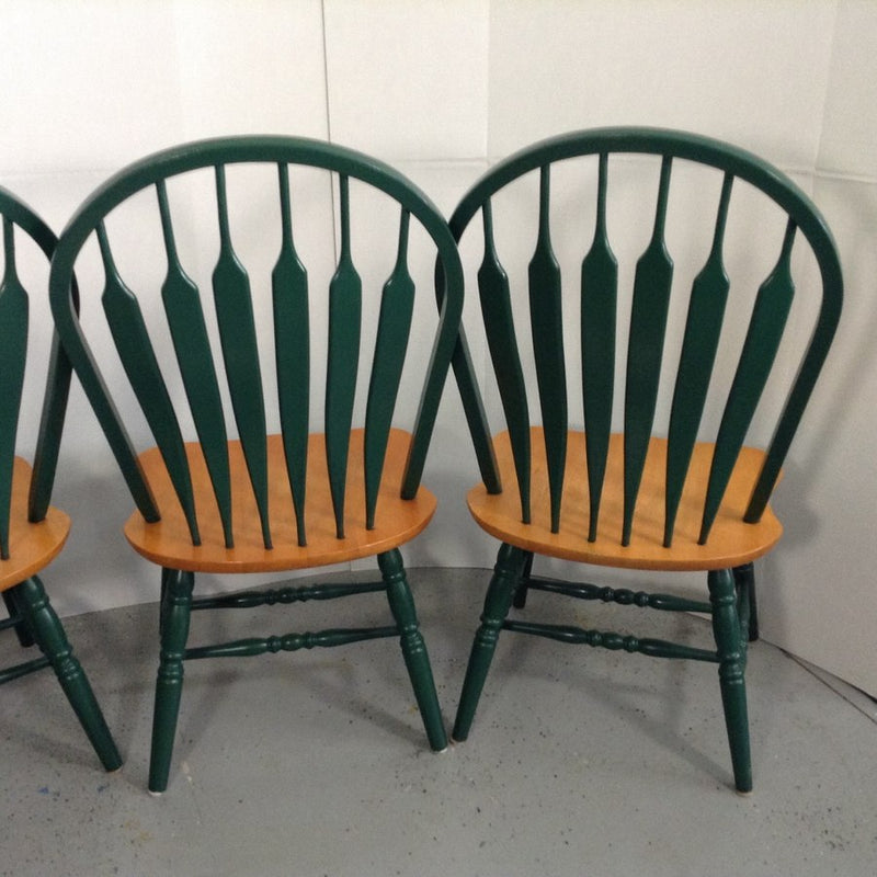 (4) Solid Oak Green Wooden Dining Room Chairs