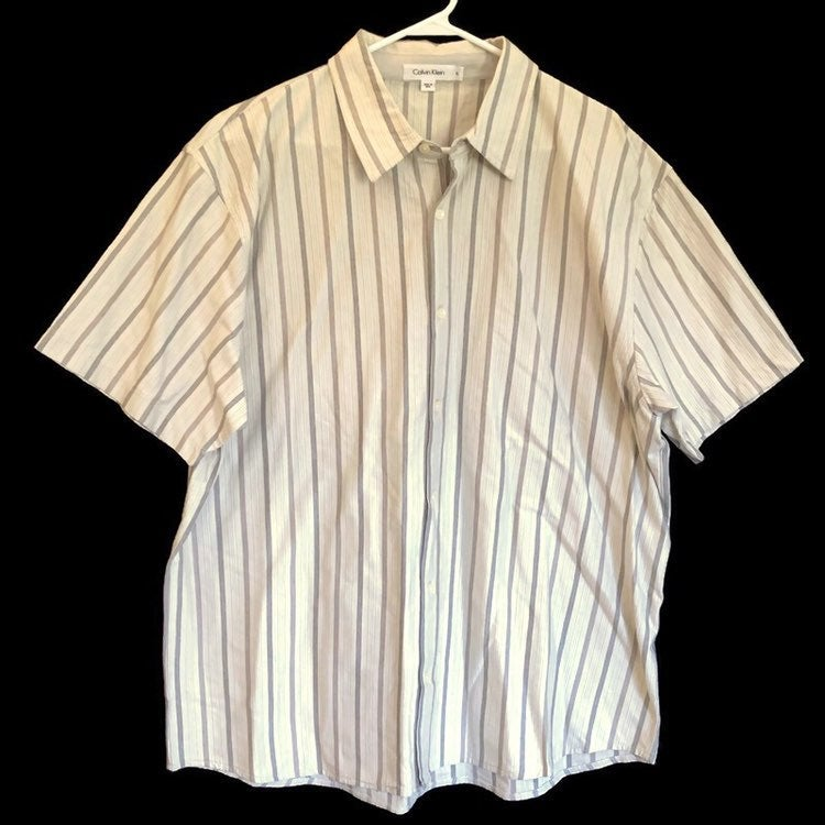 Calvin Klein Mens Short Sleeve Striped Button Down Shirt