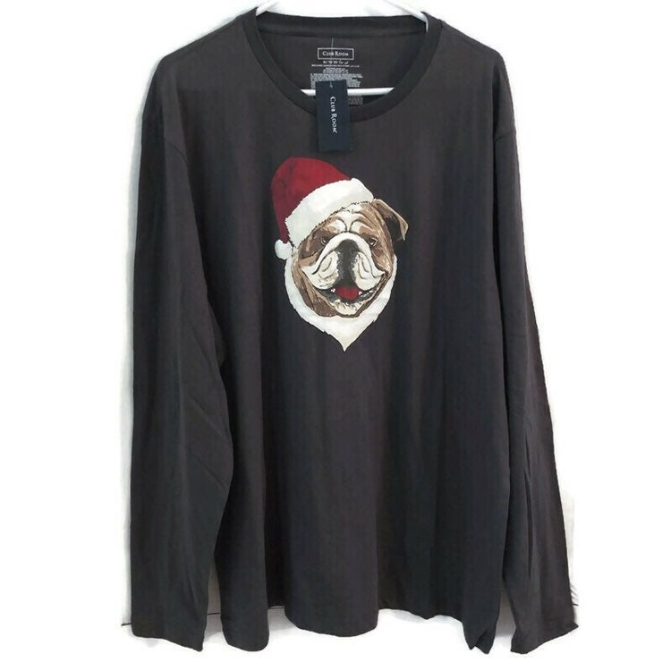 Club Room Mens Santa Hat Bulldog Christmas Long Sleeve Dark Gray Tshirt
