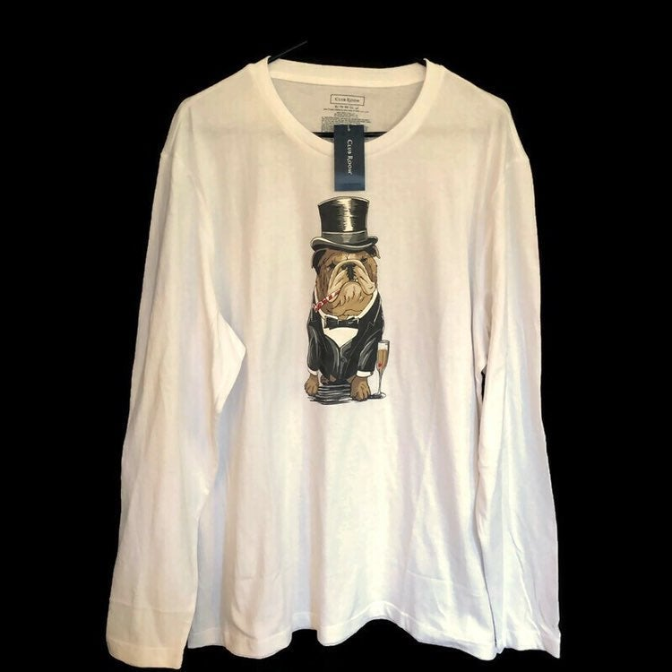 Club Room Mens Tuxedo Bulldog Long Sleeve White Tshirt